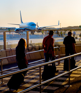Boarding plane at airport