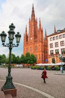 Schlossplatz square with Market Church in Wiesbaden, Hesse, Germ