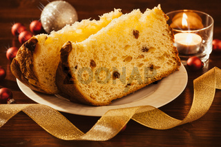 Closeup of sliced italian panettone