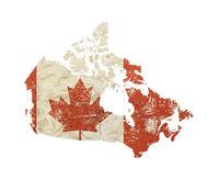 Map shaped old grunge vintage flag of Canada