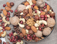 Assorted nuts in bowl