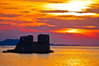 Sukosan old ruin on the sea sunset view