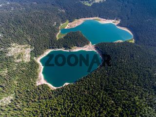 Aerial view of Black Lake in Montenegro