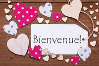 Label, Pink Hearts, Text Bienvenue Means Welcome