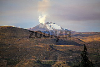 View of Sabancaya volcano in the Andes of southern Peru.