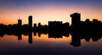 Beautiful silhouette of Vienna skyline on the Danube river