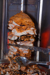 Shawarma on a spit, Pune, India