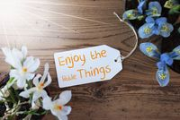 Sunny Flowers, Label, Quote Enjoy The Little Things