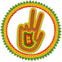 Victory sign in flower style