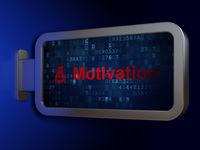 Finance concept: Motivation and Money Bag on billboard background