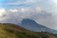 mist morning Mountain landscape and village