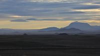 Volcanic landscape in north Iceland. Sunset scene.