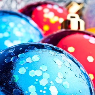 Red and blue christmas balls macro