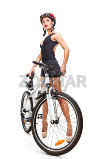 Woman with bicycle isolated on white