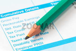 The income statement and pencil