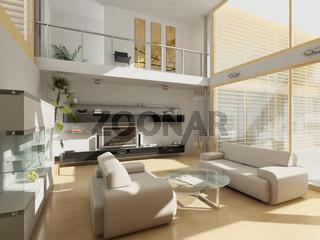 Modern livingroom with large windows.