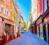 Colorful old town street in Ljubljana