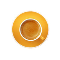 Espresso yellow cup and saucer isolated on white