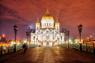 Christ the Saviour Cathedral in Moscow, Russia, at night