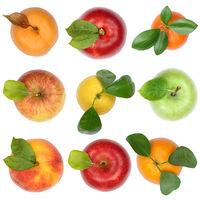 Früchte von oben Apfel Orange Freisteller freigestellt isoliert