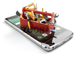 Smartphone service. Online technical support concept. Mobile phone with toolbox and tools on white isolated background.