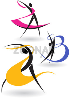 The letters in the form of gymnastic figures