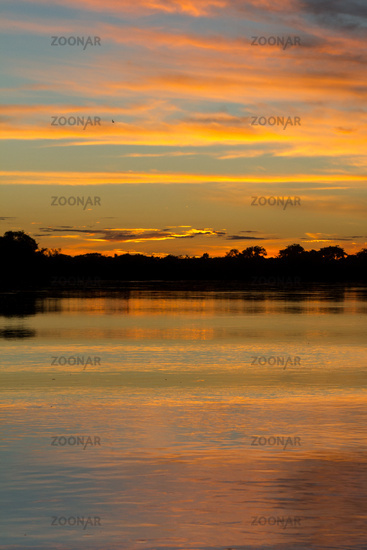 Calm river and the golden hour. Sunrise or Sunset