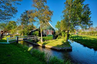 Farm houses in the museum village of Zaanse Schans, Netherlands