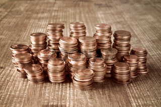 Huge stack of the copper coins