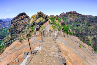 Hiking trail up in mountains on Madeira Portugal