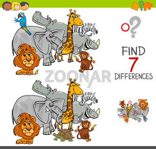 find differences with safari animals characters