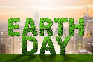 Earth day concept with green letters - 3d rendering