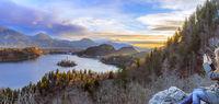 Lake Bled at sunrise panoramic view