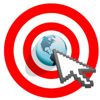 Internet arrow clicks targeted world bulls eye target