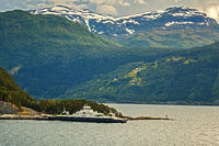 Ferry In The Fjord, At Olden Norway