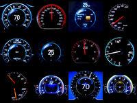 Composite image of dozen mileages speedometers
