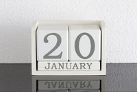 White block calendar present date 20 and month January