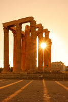 Columns in Athens at sundown
