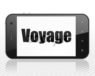 Travel concept: Smartphone with Voyage on display