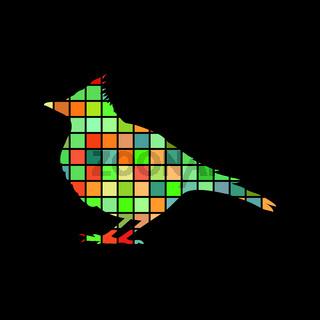 Skylark lark bird mosaic color silhouette animal background blac
