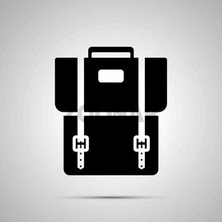 School backpack silhouette, simple black icon