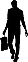 Silhouette of People with bag and shopping on White Background