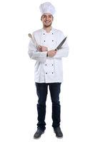Koch jung Azubi Ausbildung Auszubildender kochen Ganzkörper Beruf Freisteller