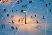 People motion blur aerial view