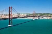 25 of April Bridge (Ponte 25 de Abril) – a suspension bridge over Tegus river. Lisbon. Portugal