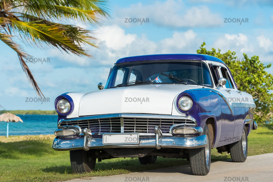 Amerikanischer blau weisser Oldtimer parkt am Strand unter Palmen in Havanna Cuba - Serie Cuba
