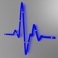 Fluorescent tube as a cardiogram sign on the wall, 3d illustration