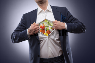 man in suit with salad inside.