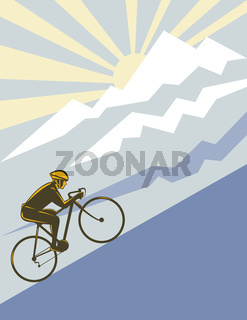 Cyclist riding up side mountain side view retro style