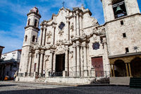 havana, Cuba - December 12, 2016: Plaza de la Cathedral in Old Havana (Cuba) with the baroque architecture of San Cristobal Cathedral.